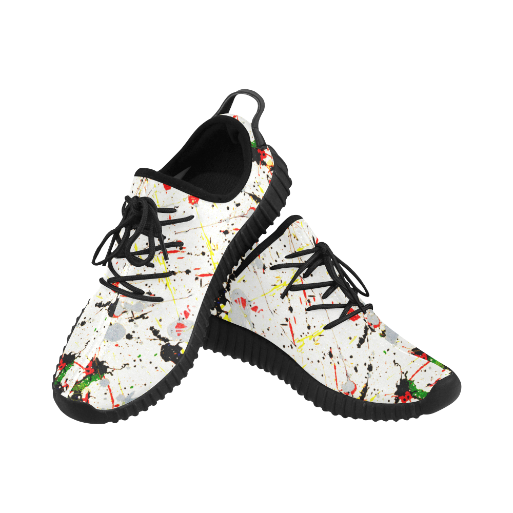 Yellow & Black Paint Splatter - Black Laces Grus Women's Breathable Woven Running Shoes (Model 022)