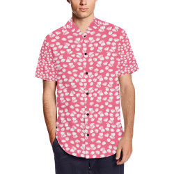 flowers Men's Short Sleeve Shirt with Lapel Collar (Model T54)