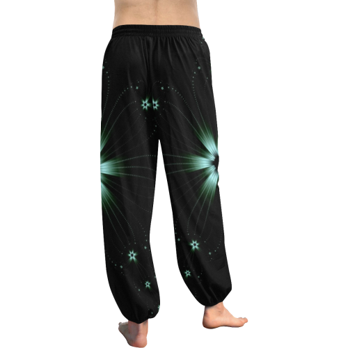 Teal Flower Burst Women's All Over Print Harem Pants (Model L18)