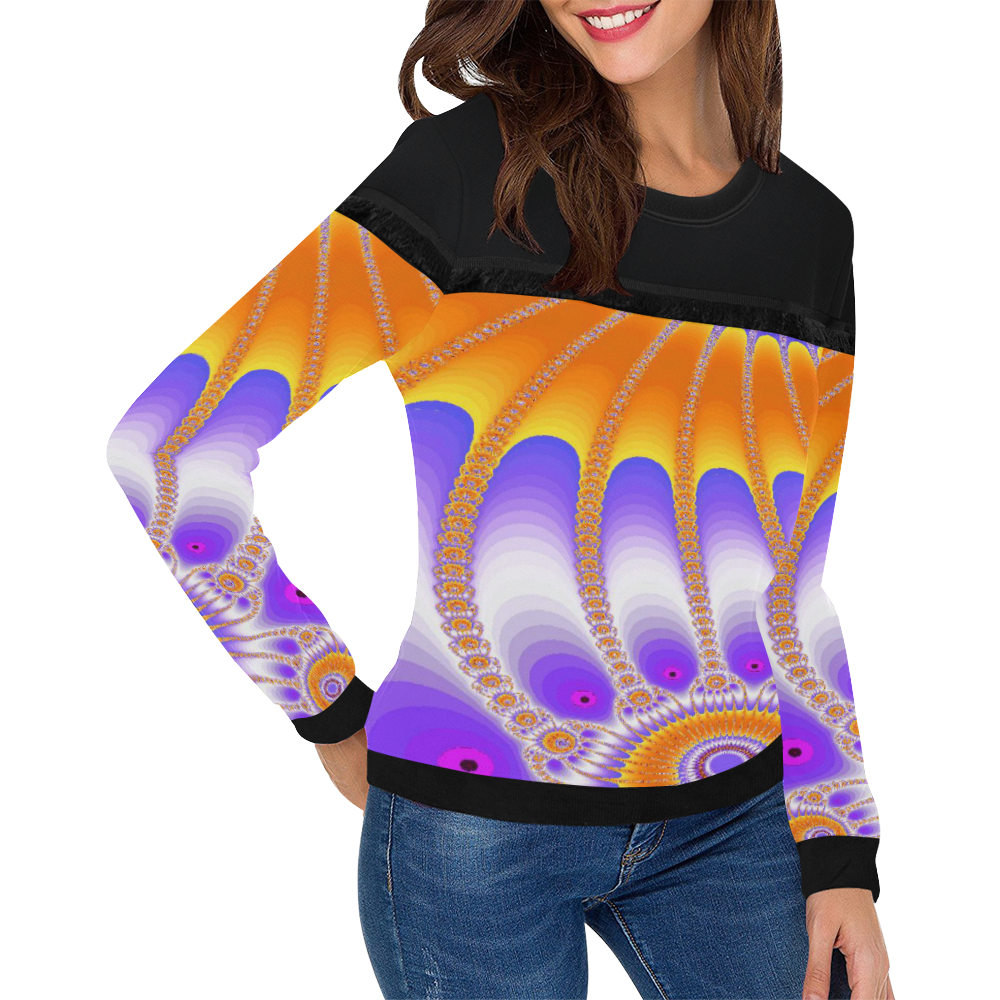 Purple and Orange Sunflower Women's Fringe Detail Sweatshirt (Model H28)