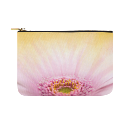 Gerbera Daisy - Pink Flower on Watercolor Yellow Carry-All Pouch 12.5''x8.5''