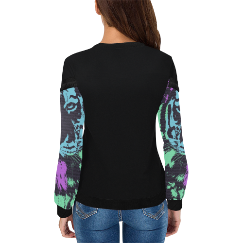 TIGER MULTICOLOR LADYLIKE Women's Fringe Detail Sweatshirt (Model H28)