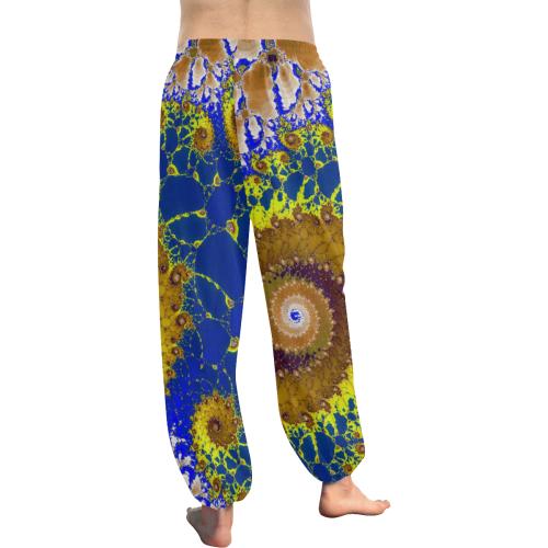 Lapis Glass Flower Spiral Women's All Over Print Harem Pants (Model L18)