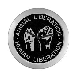 Animal Liberation, Human Liberation Silver Color Wall Clock