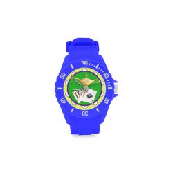 LasVegasIcons Poker Chip - Magic Lamp Blue Sport Rubber Strap Watch(Model 301)
