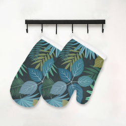 Tropical Exotic Leaves Oven Mitt (Two Pieces)