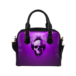 Cool Skulls Purple Metallic Shoulder Handbag (Model 1634)