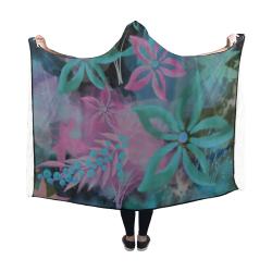 Flower Pattern - black, teal green, purple, pink Hooded Blanket 60''x50''