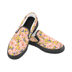 Rose Flower Women's Unusual Slip-on Canvas Shoes (Model 019)