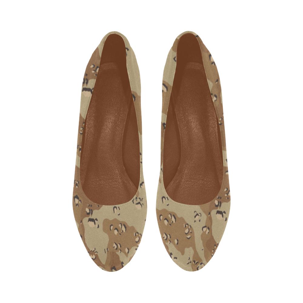 Vintage Desert Brown Camouflage Women's High Heels (Model 044)
