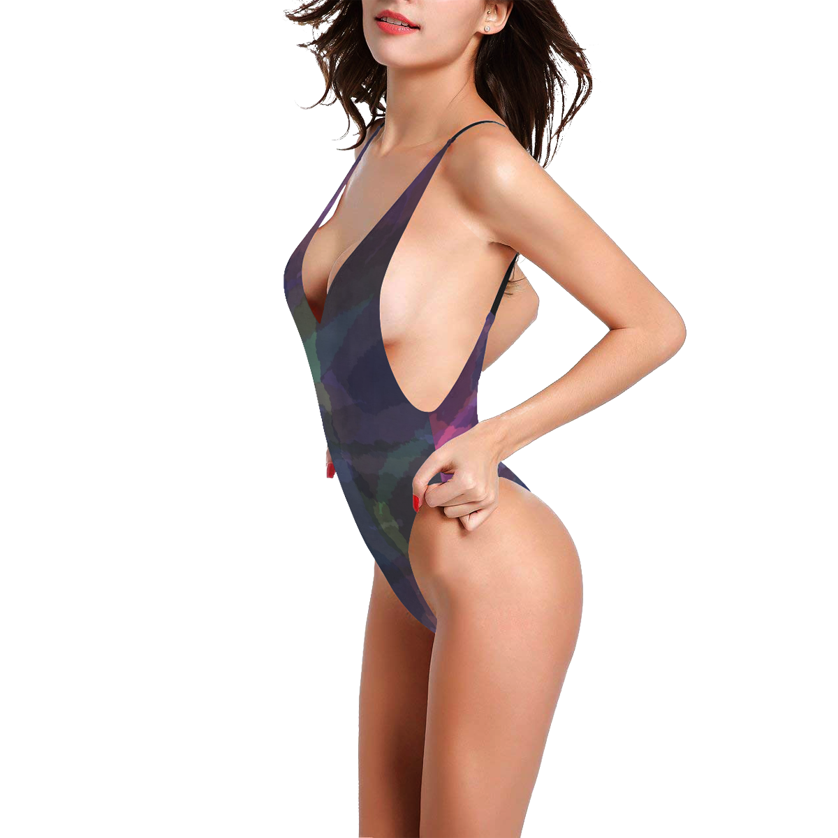 WATERCOLOR CAMOUFLAGE LILAC Sexy Low Back One-Piece Swimsuit (Model S09)