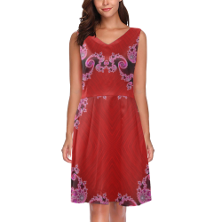 Red Pink Mauve Hearts and Lace Fractal Abstract 2 Chryseis Sleeveless Pleated Dress(Model D07)