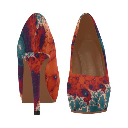 Rose Bud Glass Flower Spiral Women's High Heels (Model 044)