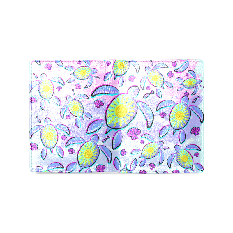 Sea Turtle and Sun Abstract Glitch Ultraviolet Men's Leather Wallet (Model 1612)
