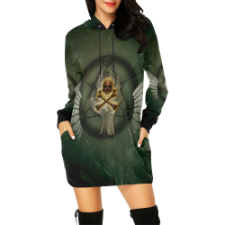 Skull in a hand All Over Print Hoodie Mini Dress (Model H27)