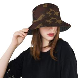 Camo Dark Brown All Over Print Bucket Hat