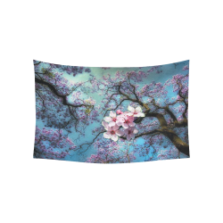 "Cherry blossomL Cotton Linen Wall Tapestry 60""x 40"""