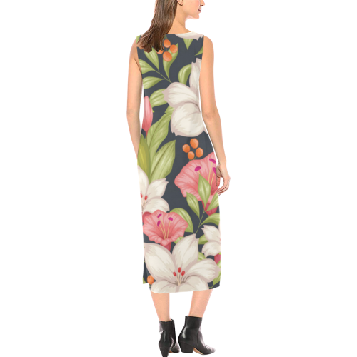 Pink and White Tropical Flowers on Dark Background Phaedra Sleeveless Open Fork Long Dress (Model D08)