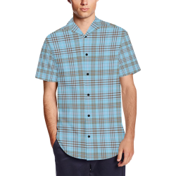 Parking Garage Plaid in Blue Men's Short Sleeve Shirt with Lapel Collar (Model T54)