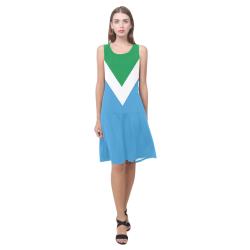 Vegan Flag Sleeveless Splicing Shift Dress(Model D17)