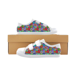 Rainbow Cats Velcro Canvas Kid's Shoes (Model 008)