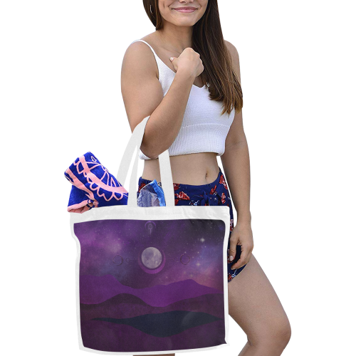 Purple Moon Night Canvas Tote Bag/Large (Model 1702)