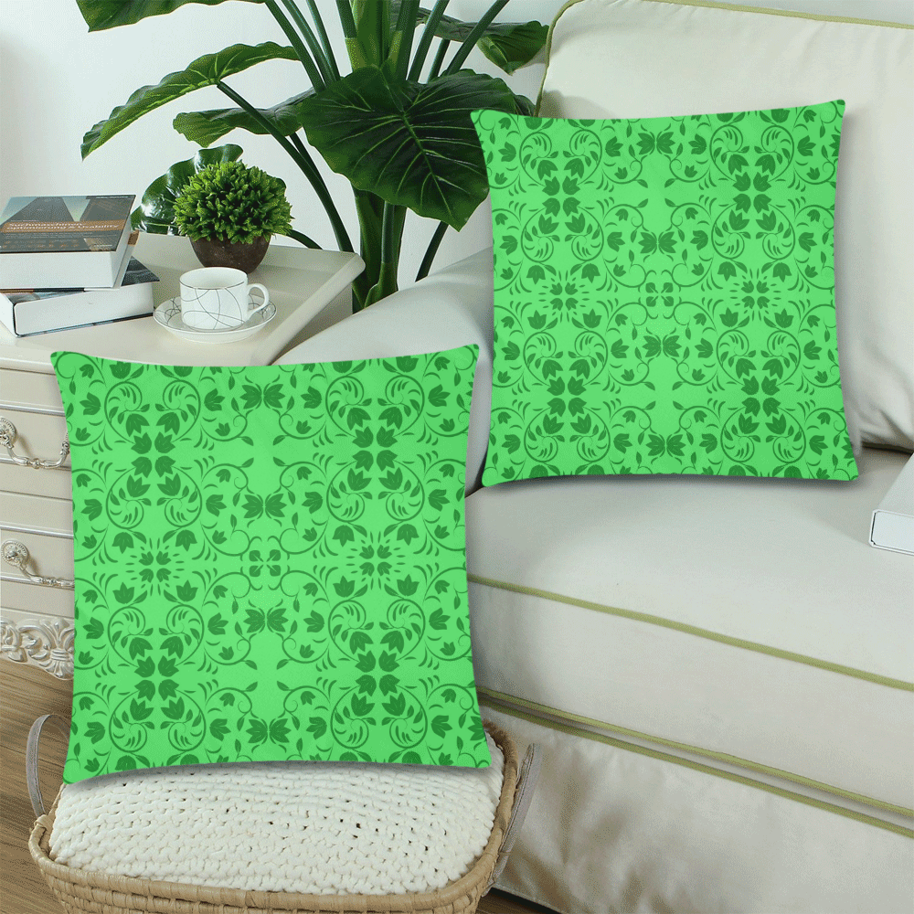 """Green lilies Custom Zippered Pillow Cases 18""""x 18"""" (Twin Sides) (Set of 2)"""