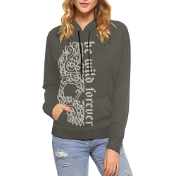 Artsy Vintage Skull - Be Wild Forever 1 All Over Print Hoodie for Women (USA Size) (Model H13)
