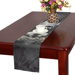 Skull with crow in black and white Table Runner 14x72 inch
