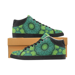 Green Theme Mandala Women's Chukka Canvas Shoes (Model 003)