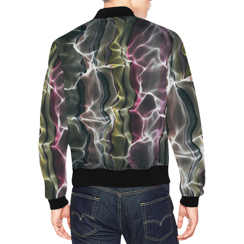 Abstract Wavy Mesh All Over Print Bomber Jacket for Men (Model H19)