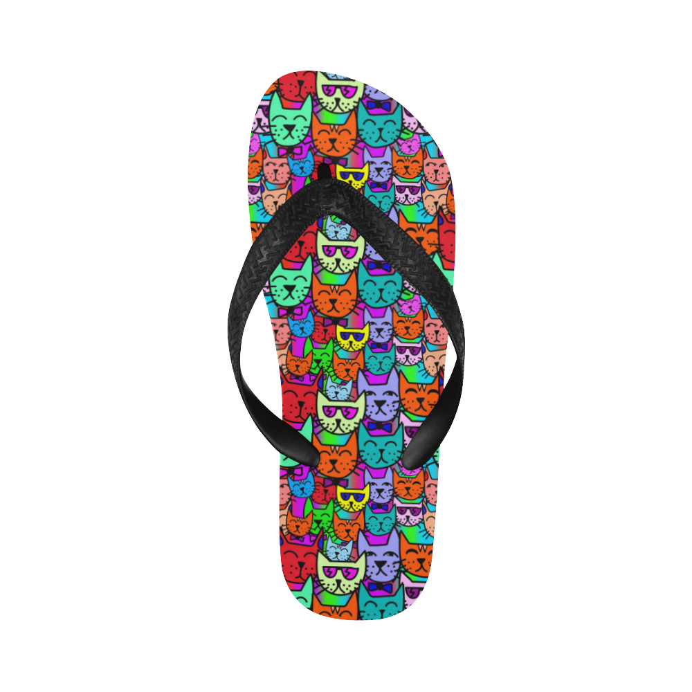 Rainbow Cats Flip Flops for Men/Women (Model 040)
