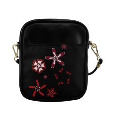 Black, red and white Abstract #17 Sling Bag (Model 1627)