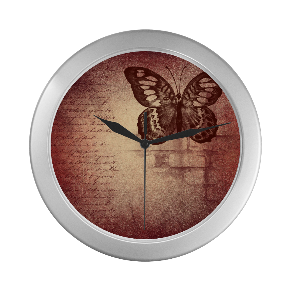 Silver Frame Wall Clock Classic Butterfly Graphic Style Wall Decor Silver Color Wall Clock