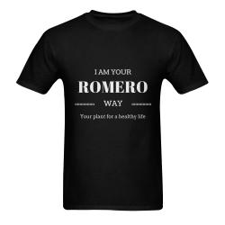 CAMISETA NEGRA PARA HOMBRE DEROMERO.COM Men's T-Shirt in USA Size (Two Sides Printing)
