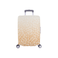 """Gradient orange and white swirls doodles Luggage Cover/Small 18""""-21"""""""