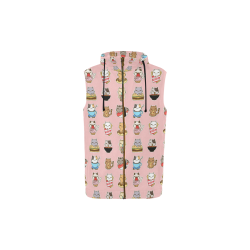 pink All Over Print Sleeveless Zip Up Hoodie for Kid (Model H16)