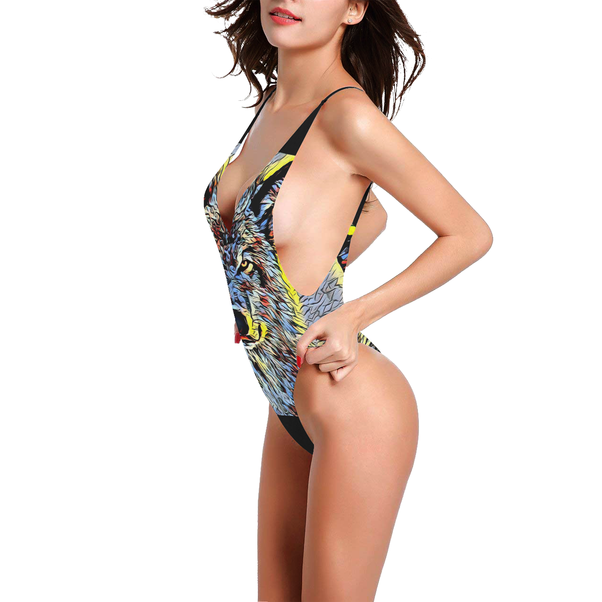 WOLF MULTICOLOR Sexy Low Back One-Piece Swimsuit (Model S09)