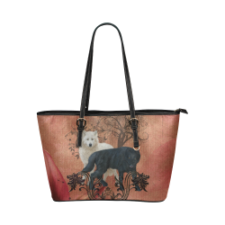 Awesome black and white wolf Leather Tote Bag/Large (Model 1651)