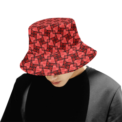 Red Hearts Love Pattern All Over Print Bucket Hat for Men