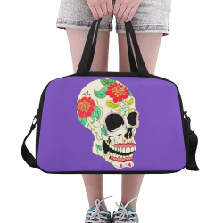 Flower Sugar Skull Purple Fitness Handbag (Model 1671)