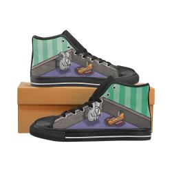 Dumb Cat Women's Classic High Top Canvas Shoes (Model 017)