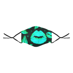 Kisses All Over (Green) 3D Mouth Mask with Drawstring (Model M04)