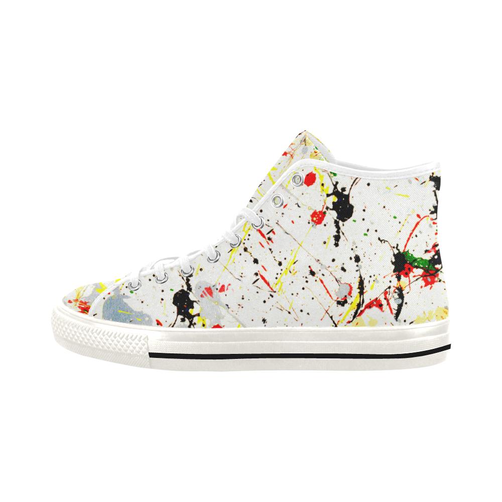 Yellow & Black Paint Splatter - White Vancouver H Men's Canvas Shoes (1013-1)