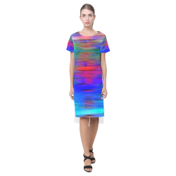 noisy gradient 1 by JamColors Short Sleeves Casual Dress(Model D14)