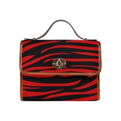 Tiger Stripes Black and Red Waterproof Canvas Bag/All Over Print (Model 1641)