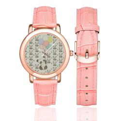 Balloon Panda Women's Rose Gold Leather Strap Watch(Model 201)