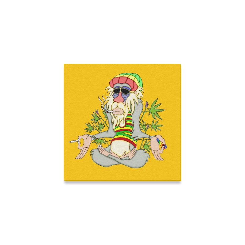 "Hippie Ganja Guru Yellow Canvas Print 6""x6"""