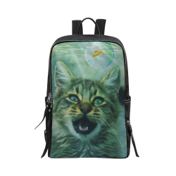Surreal - Crazy Cat Looking For Fish In Bubbles Unisex Slim Backpack (Model 1664)