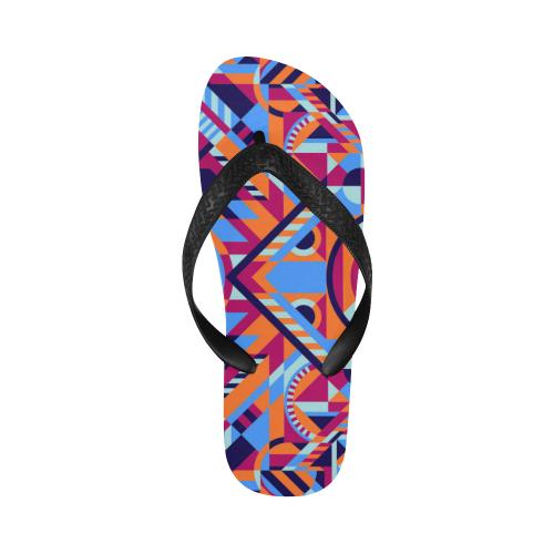 Modern Geometric Pattern Flip Flops for Men/Women (Model 040)